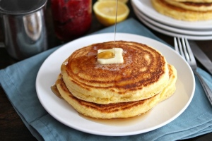 Lemon cornmeal pancakes
