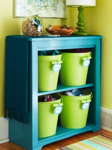 Why yes, something like this will be in my living room when I find a good dresser. Maybe with clear bins though.