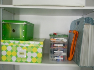 The stackable box cost $8. It holds things like paper clips,  thumbtacks, glue, and sticky notes. All labeled of course!