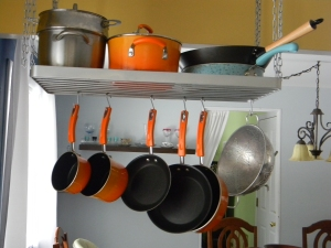 This pot rack frees up so much cabinet space! And I love the Rachel Ray pots and pans.